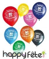 8 ballons joyeux anniversaire et âge imprimé, image 2