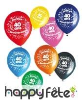 8 ballons joyeux anniversaire et âge imprimé, image 3