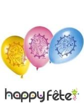 8 ballons Princesse Disney sur fond coloré