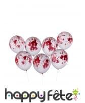 8 Ballons transparents ensanglantés de 30 cm