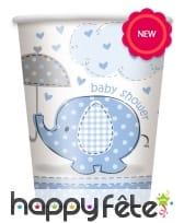 8 Gobelets éléphant bleu Baby Shower