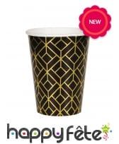 8 gobelets noirs motifs dorés géométriques