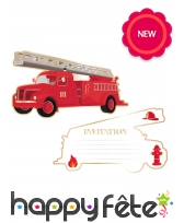 8 invitations en forme de camion de pompier
