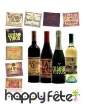 8 Stickers étiquette pour bouteille de Halloween