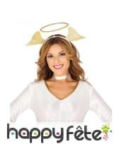 Auréole avec ailes d'ange dorées sur serre-tête