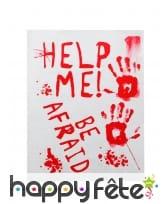 Affiche be afraid avec tâches de sang, 42 x 19 cm