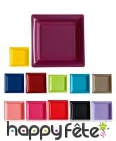 Assiettes carrées en plastique coloris uni
