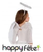 Ailes d'ange blanc avec auréole pour fillette