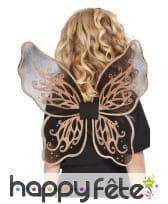 Ailes de papillon transparentes noir doré, enfant