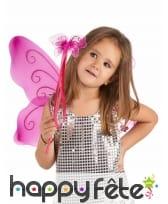Ailes et baguette de papillon rose pour enfant, image 1