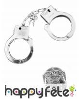Accessoires menottes et insigne de police adulte