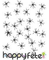 Araignées noires de 2,5cm en plastique