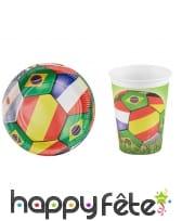 Assiettes ou gobelets thème mondial de foot