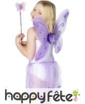 Ailes papillons baguette magique mauve
