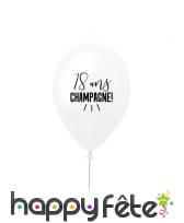 Ballon 18 ans champagne blanc en latex de 27 cm