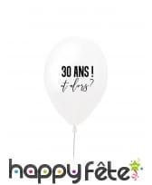Ballon 30 ans et alors blanc en latex de 27 cm