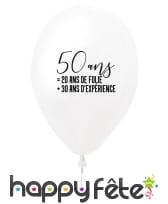 Ballon 50 ans blanc en latex de 27 cm