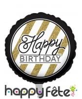 Ballon aluminium d'anniversaire noir et or, image 1