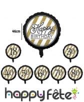 Ballon aluminium d'anniversaire noir et or