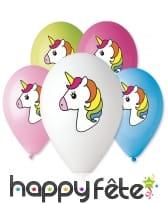 Ballon avec dessin de licorne colorée