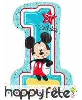 Ballon anniversaire Mickey Mouse chiffre 1 71cm