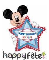 Ballon anniversaire Mickey personnalisable, 76 cm