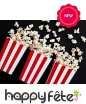 Boite à popcorn lignées rouge et blanche, par 6, image 1