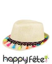 Borsalino avec pompons colorés pour adulte, image 1