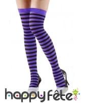 Bas avec rayures noires et violettes