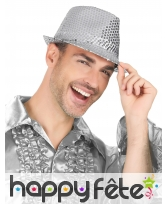 Borsalino argenté recouvert de sequins, image 3