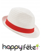 Borsalino blanc avec ruban rouge