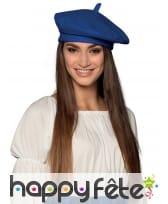 Béret basque bleu uni