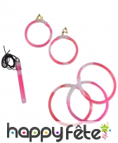 Boucles, bracellets collier rose phosphorescent