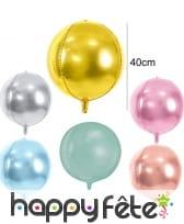 Ballon boule doré de 40 cm en aluminium