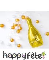 Ballon bouteille de bulles happy new year doré, image 1
