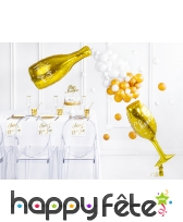 Ballon bouteille de bulles happy new year doré, image 2