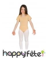 Body beige manches courtes pour fille