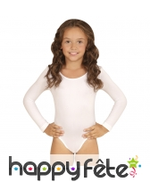 Body blanc uni à longues manches pour enfant