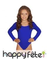 Body bleu uni manches longues pour enfant