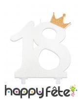 Bougie chiffre 18 blanche avec couronne de 12 cm