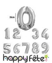 Ballon chiffre argenté en aluminium de 35cm