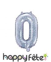 Ballon chiffre argenté iridescent de 35 cm, image 1