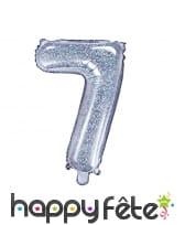 Ballon chiffre argenté iridescent de 35 cm, image 8