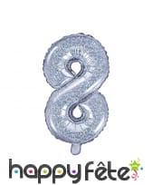 Ballon chiffre argenté iridescent de 35 cm, image 9