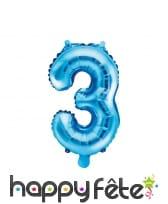 Ballon chiffre bleu de 35 cm, image 4