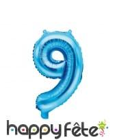 Ballon chiffre bleu de 35 cm, image 10