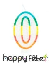 Bougie chiffre blanche pailletée bord multicolore, image 1