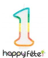 Bougie chiffre blanche pailletée bord multicolore, image 2