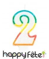 Bougie chiffre blanche pailletée bord multicolore, image 3