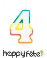 Bougie chiffre blanche pailletée bord multicolore, image 5